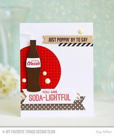 Soda Pop, Fine Check Background, Soda Pop Bottles, Blueprints 7 Die-namics, Pierced Circle STAX Die-namics, Pierced Fishtail Flags STAX Die-namics - Kay Miller  #mftstamps