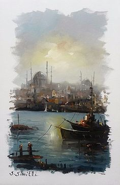 Декупаж в Кургане Watercolor Sea, Watercolor Art Paintings, Landscape Paintings, Nautical Painting, Boat Painting, Islamic Paintings, Boat Art, Amazing Paintings, Islamic Art