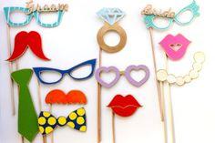 You will Receive: 1 Bride Glasses 1 Groom Glasses 1 curl up long mustache 1 comb mustache 1 Heart Glasses 1 Retro glasses 1 Pearl necklace 1 close pucker up lip 1 open pucker up lip 1 bow tie 1 tie 1