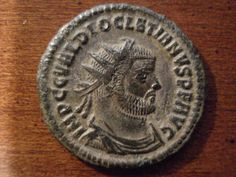Roman coin minted during the reign of Emperor Diocletian ( Gaius Aurelius Valerius Diocletianus) - from 284 to 305 CE