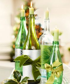 Raid the recycling bin for a new set of festive candlesticks —a.k.a. repurposed wine bottles. Just replace the labels with silvery wrapping paper and luxe ribbon before adding tapers. Click through for more DIY Christmas decorations.