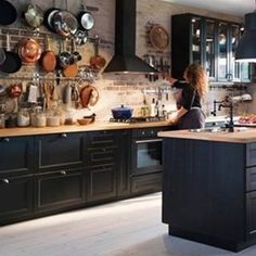 New Kitchen Ideas Ikea Kitchen, Home Decor Kitchen, Rustic Kitchen, Kitchen Interior, Cozy Kitchen, Black Kitchens, Home Kitchens, Küchen Design, House Design
