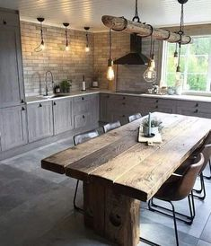 full rustic kitchen We are want to say thanks if you like to share this post to . - full rustic kitchen We are want to say thanks if you like to share this post to another people via - Home Decor Kitchen, Interior Design Living Room, Home Kitchens, Rustic Kitchens, Rustic Kitchen Island, County Kitchen Ideas, Small Cabin Kitchens, Modern Country Kitchens, Rustic Kitchen Tables