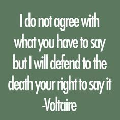 "My quote roughly translates to the freedom of speech. It means I may not like what you say, but we have the right to say what we want so I will defend it. This ""freedom of speech"" was later used for the First Amendment in the U.S. constitution."
