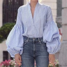 Blue Plaid V-neck Puff Sleeve Chic Women Shirt – Chicfulife Ropa Upcycling, Older Women Fashion, Womens Fashion, Striped Long Sleeve Shirt, Fashion Outfits, Fashion Trends, Club Fashion, Fashion 2018, Ootd Fashion