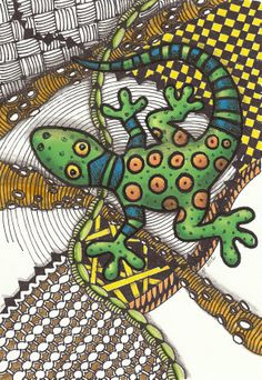 Start with a brightly colored amphibian shape and add zentangle patterns as habitat.