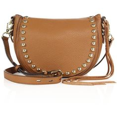 Rebecca Minkoff Unlined Leather Saddle Bag ($215) ❤ liked on Polyvore featuring bags, handbags, shoulder bags, almond, apparel & accessories, studded leather purse, leather handbags, beige leather handbag, leather purses and rebecca minkoff handbags