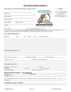 Professional Pet Sitting Forms Template Dog Sitting Form Scout