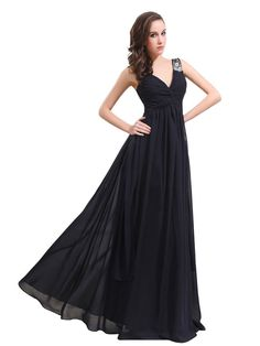 V-Neck Chiffon Long Evening Dress Formal Prom Gown with Bead Stones Custom Size #topwedding #Aline #Formal