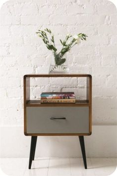 Mid Century Nightstand with Drawer in solid Walnut wood | Pinterest ...