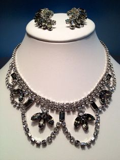 Vintage Juliana Style Diamond Rhinestone Matching Elegant Necklace and Earring Set in Silver Tone - Wedding or Special Event Jewelry on Etsy, $69.00