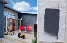 Benjamin Moore Graphite -- true dark gray with just a hint of blue. (home shown designed by Ana Williamson Architect -- trim is BM Gunmetal and stucco integrally colored to match BM Timber Wolf)