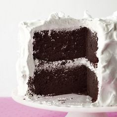 Devils' Food Cake with Fluffy White Icing...Cake batter: 1¾ c. flour 1 t. baking soda ¼ t. salt 8 T. (1 stick) unsalted butter, softened 1/1 /4 c. dark brown sugar, firmly packed 2 t. vanilla extract 3 eggs 3 oz. unsweetend chocolate, melted and cooled ¾ c. milk or buttermilk Fluffy white icing: 4 egg whites Large pinch salt 1¼ c. sugar ½ c. light corn syrup