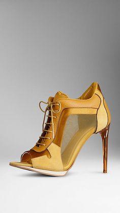 Saffron yellow Kidskin and Mesh Panel Ankle Boots - Image 1 Peep Toe Ankle Boots, Bootie Boots, Shoe Boots, Shoes Sandals, Women's Boots, Stilettos, High Heels, John Galliano, Salvatore Ferragamo