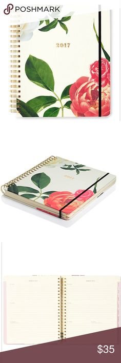 2017 AGENDA 9x7 Kate Spade Agenda 9x7. This is coming soon! I accidentally ordered two Hardbound cover Elastic band closure Metallic spiral binding Interior pocket Mylar covered tabs Celebrations and notes sections 17 month design runs from August 2016 - December 2017 Paper kate spade Other