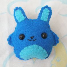 Blue and Teal Felt Bunny Brooch on Etsy, $8.50