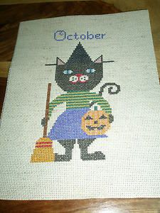 """Completed Cross Stitch -"""" October Birthday Cat """" A Birds of a Feather design"""
