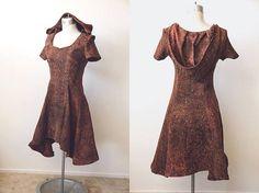 Brown Hooded Dress  Baroque Elf Hoodie  Renaissance Inspired