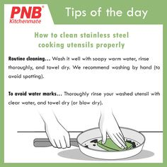 #Tips of the day: Stainless steel utensils appear shiny, clean and bright if it is maintained and cleaned regularly. It is quite easy to clean these utensils by following some simple tips at home. 🍧🍺  #kitchendesign #kitchenset #kitchen #mykitchen #mykitchenrules #kitchenremodel #tips #cooking #clean #steel #cleaning #utensils #wash #dry