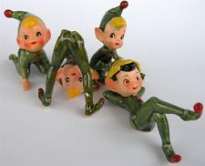 4 Vintage Pixie Elves Posing Elf Pixiware Figurines Made in Japan - Christmas