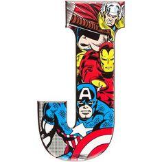"superhero alphabet letters captain america   18"" J Marvel Captain America, Iron Man, Thor Superhero Embossed Tin ..."