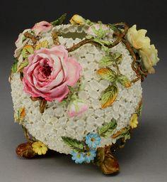 Meissen Porcelain Manufactory (Germany) — Snowball Schneeballen Rose Bowl, H:6,5, Mid 19th Century (700x762)