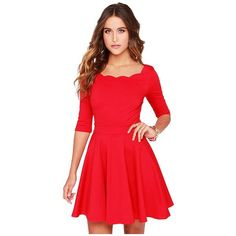Yoins Red Scallop Skater Dress-Red S/M/L featuring polyvore, fashion, clothing, dresses, red, trapeze dress, scalloped hem dress, red day dress, red skater dress and scalloped dress