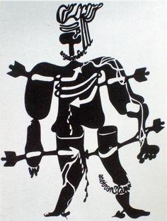 Otto Tschumi (1904-1985) | Saint Sebastian - an Walo Wiemken | 1941 | Woodcut, printed monotypeisch coloured St Sebastian, Saints
