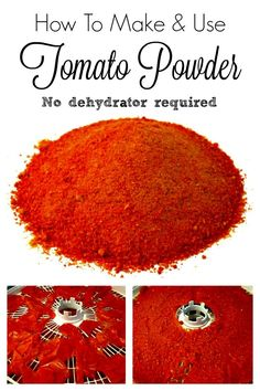 Homemade Tomato Powder is a great way to turn old tomatoes, tomato skins or pulp into a super versatile ingredient! You can do this in the oven or dehydrator. Dehydrated Vegetables, Dehydrated Food, Veggies, Homemade Spices, Homemade Seasonings, Tandoori Masala, Dehydrator Recipes, Spice Mixes, Canning Recipes