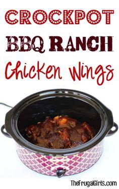 Crockpot BBQ Ranch Chicken Wings Recipe - at TheFrugalGirls.com
