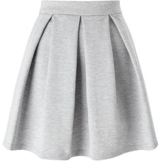 Miss Selfridge Ponte Skater Skirt, Grey (230 GTQ) ❤ liked on Polyvore featuring skirts, grey skirt, mini skirt, pleated skirt, pleated mini skirt and flare skirt