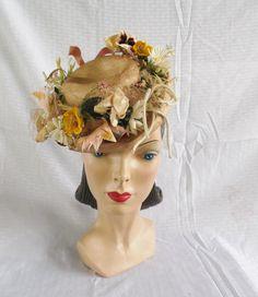 1940s Vintage Straw Tilt Toy Hat with Flowers by MyVintageHatShop, $35.00
