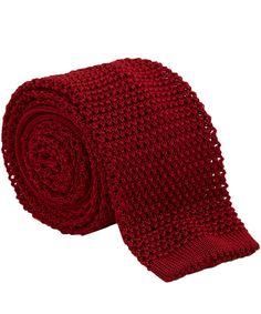Nick Bronson Red Plain Knit Silk Tie