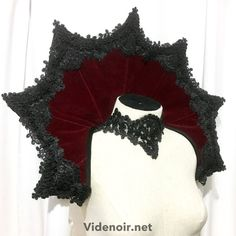 ddbfe6b53289 Elizabethan Collar Vampire velveted gothic shoulder piece standing alone  Fabric Covered