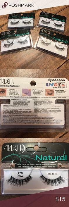 Eyelash bundle Four sets of eyelashes. Brand new in package. Ardell brand. Natural. Black. 120 Demi. Originally $5.49 each + 7% tax (Indiana) = ~$25 for four sets. Ardell Makeup False Eyelashes