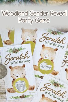 Hand out these woodland scratch off tickets as a fun bear baby shower or woodland birthday party game to keep guests talking and laughing together. #woodlandbear #genderreveal #woodlandgenderreveal
