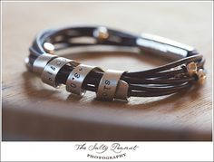 Personalized Silver and Leather Bracelet Hand Stamped With Custom Spinning Message on Etsy, $84.00