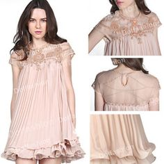 Online Shop 2014 Latest Autumn Korean Designer Vestido Stlye Cute Apricot Short Sleeve Lace Pleated Chiffon Short Dress Hot Sale Brand Women|Aliexpress Mobile