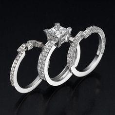 Wedding Ring Set, Engagement Ring Set, Princess Cut Diamond Engagement Ring Set 14K White Gold, Bridal Wedding Band Set