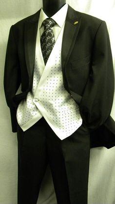 Fashion Mens Suit by Falcone Black Dot Vested Suits ROC85RV6