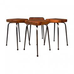 Set of 4 Chrome Stools with Reclaimed Timber Seats
