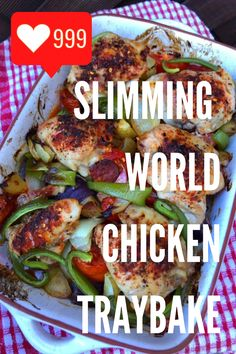 This Slimming World chicken traybake recipe is inspired by Spanish and Meditteranean cuisine, and includes smoky chorizo and lots of nutritious vegetables. It's a one-pan dish that is suitable for the whole family! Slimming World Dinners, Slimming World Chicken Recipes, Chicken Lunch Recipes, Chicken Thigh Recipes, Slimming World Recipes, Dinner Recipes, Tray Bake Recipes, New Recipes, Healthy Recipes