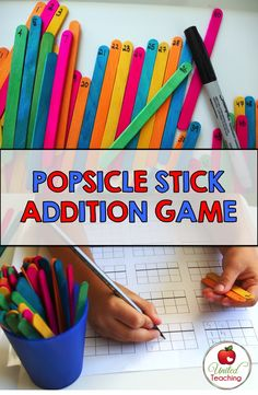 Popsicle Stick Addition Game >> Fun way to practice addition with regrouping. Can be easily adapted to other levels.