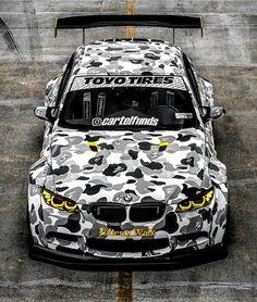 Vivid striped colors of BMW Motorsport Art Car E92 M3 GTR