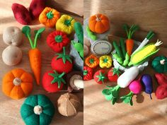 Felt vegetables food corn potatoes bell peppers scale
