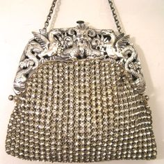 Antique Sterling Silver Frame with Jewelled Rhinestone Bag Handbag