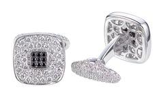 Rosendorff Men's White and Black Diamond Cufflinks