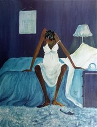 """Annie Lee was born in Alabama but moved to Chicago where she started painting at age 40. She was a popular and well-loved artist known for her humorous take on African American life and culture. Annie Lee's hallmark was faceless figures, the most recognizable being the bedraggled woman sitting on her bed in her """"Blue Monday"""" print. Annie Lee died in 2014. See Annie Lee Prints at http://www.avisca.com/Annie_Lee_Art_Gallery_s/55.htm"""