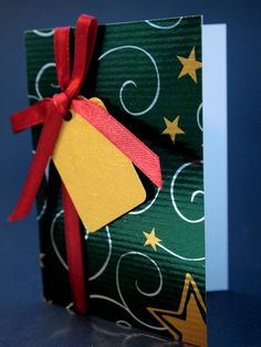 Green, red and golden Christmas Card