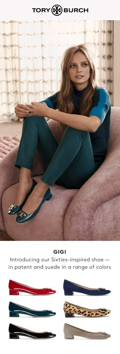 Our favorite era in a shoe: A flared block heel, a round toe and a framed logo capture the spirit of the Sixties — gamine meets mod. Available in patent or suede in a range of colors.